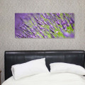 Lavender field canvas above bed