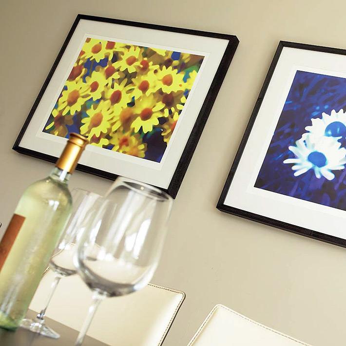 Framed floral artworks