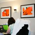 2 framed floral artworks in office